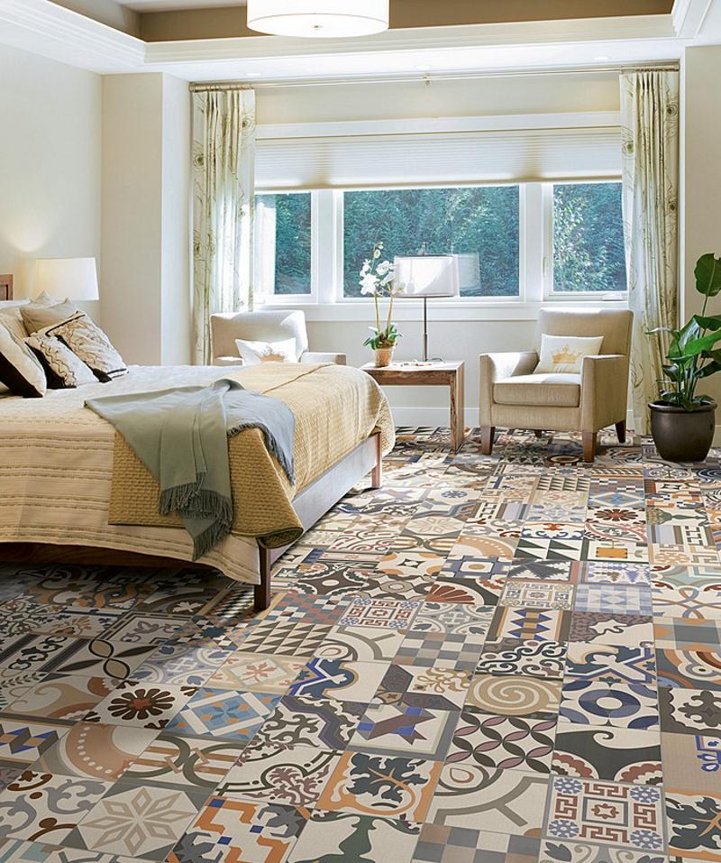Керамическая плитка в стиле пэчворк в спальне