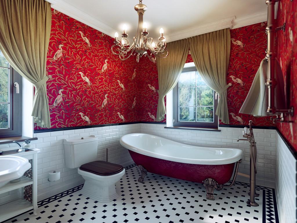 Красная ванная в викторианском стиле