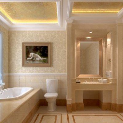 Бежевый цвет в инерьере ванной
