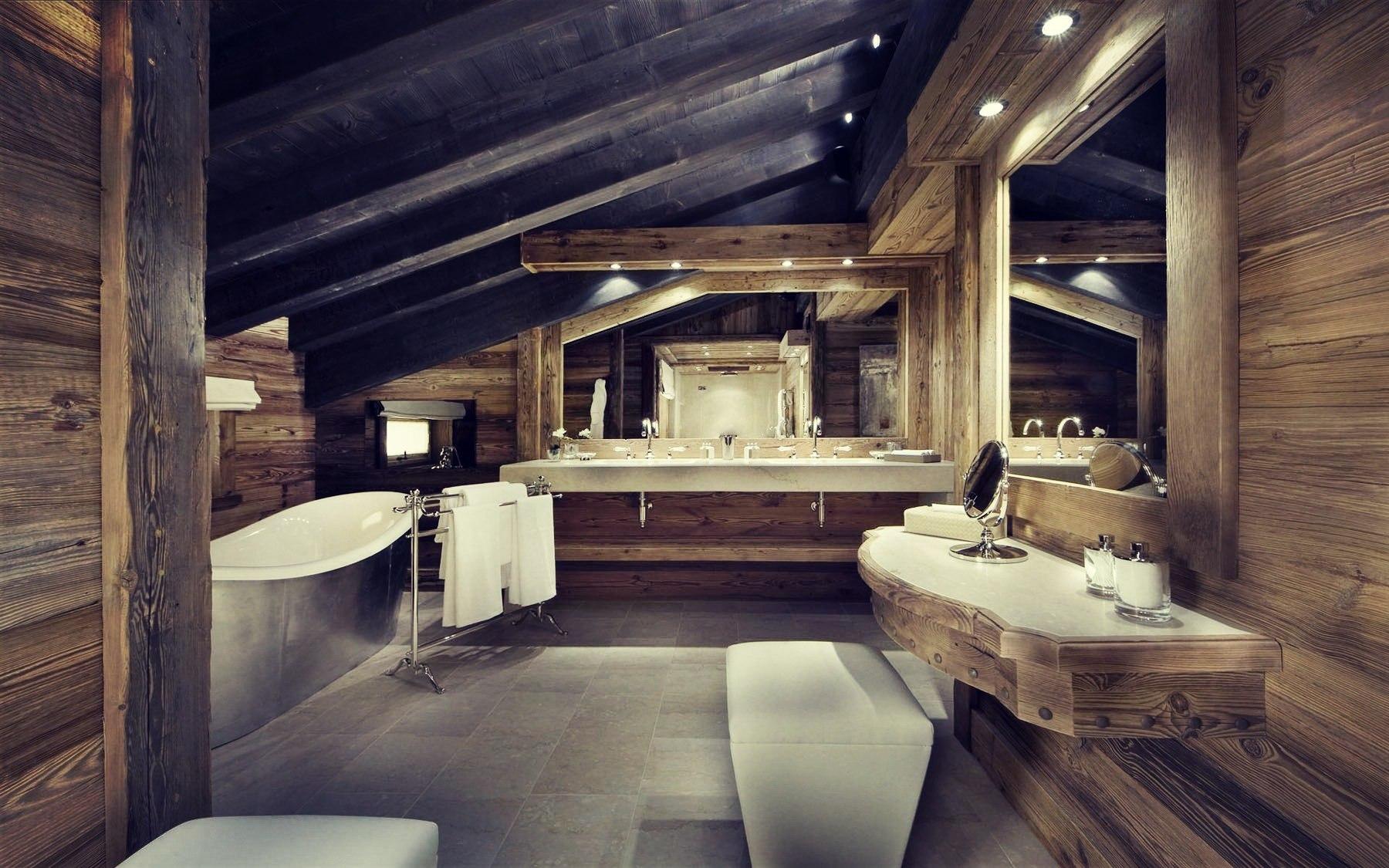 Ванная в стиле шале приглянется тем, кому близка природная и сельская эстетика