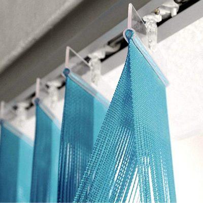 Вертикальные веревочные жалюзи голубого цвета
