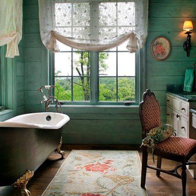 Зелёная ванная в викторианском стиле