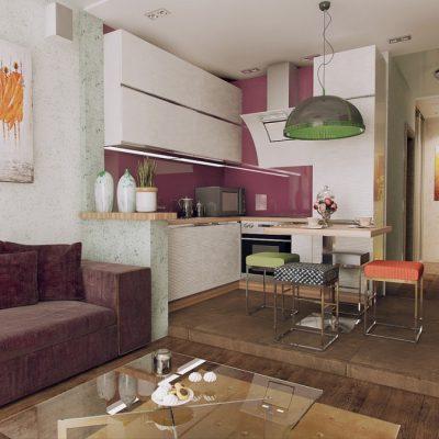 Зонирование кухни подиумом