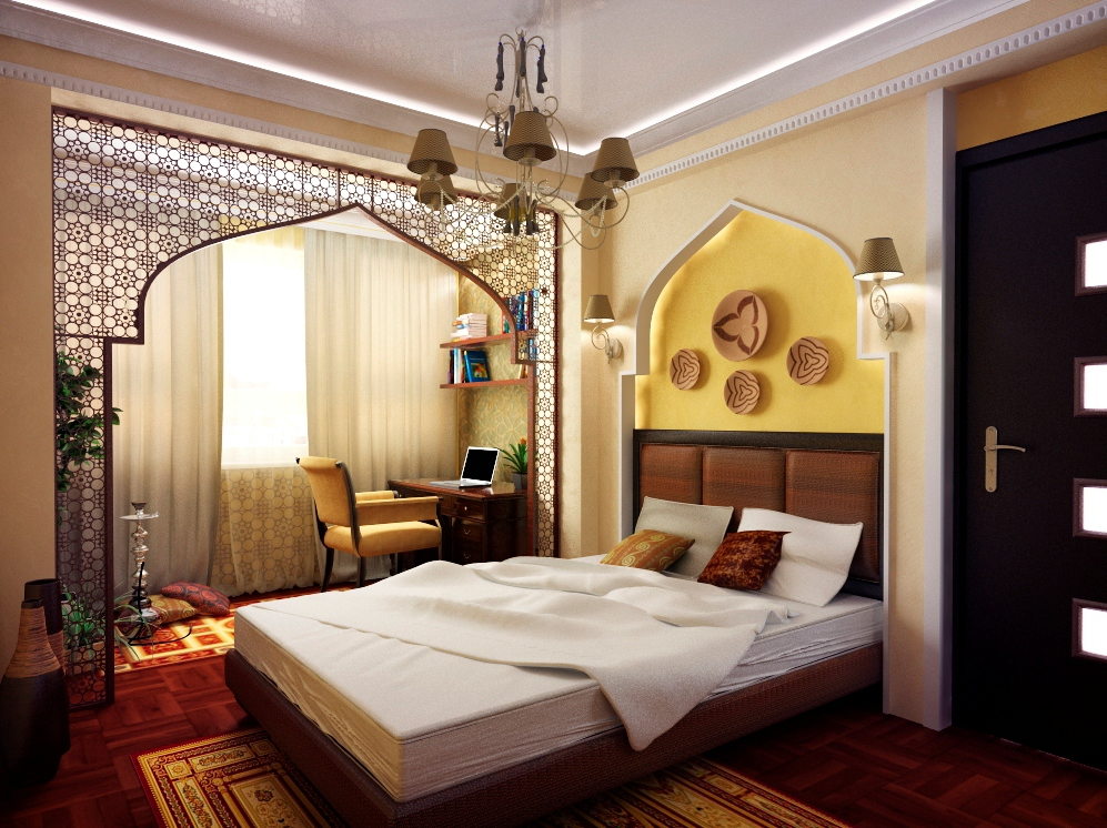 Зонирование спальни в арабском стиле