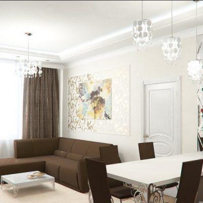 Интерьер гостиной комнаты на примере
