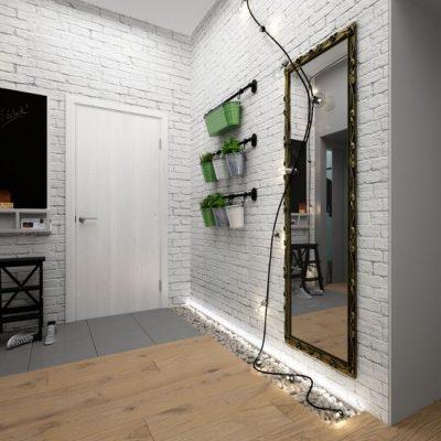 Интересная прихожая лофт стиля с зеркалом