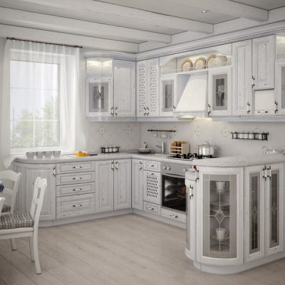 белого цвета кухня