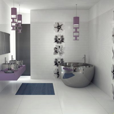 Фиолетовые тона в ванной