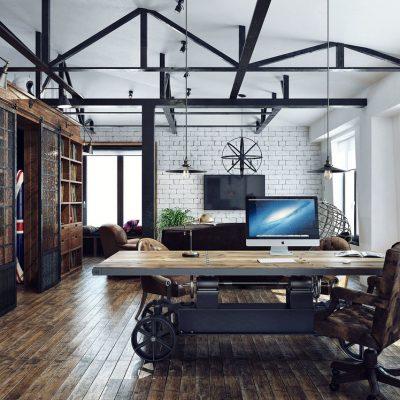 12Оформление потолка в стиле лофт