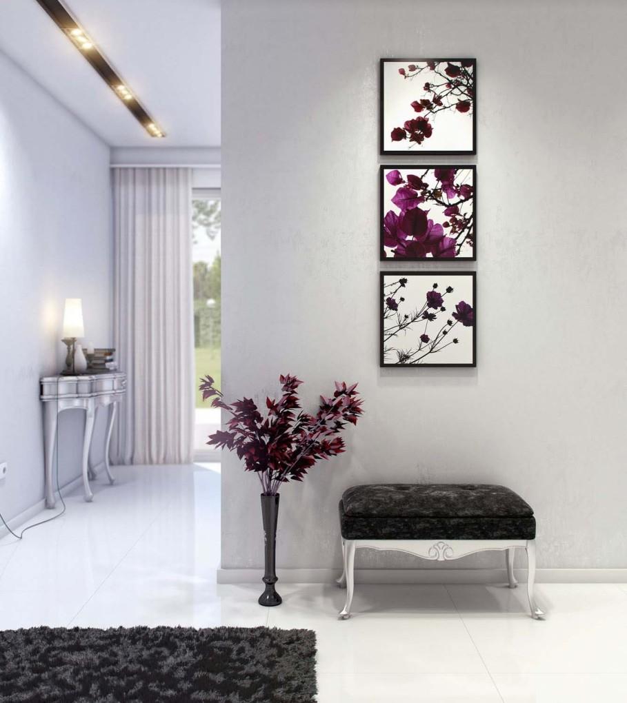 Модульные картины в интерьере коридора фото
