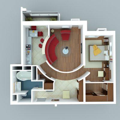 Правильная планировка 2х комнат в плане