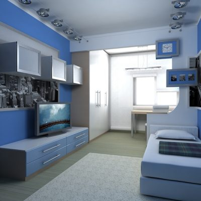 Спальня хай тек стиля в синем цвете