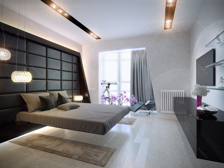 Дизайн хай-тек спальни