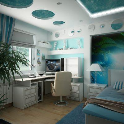 Спальня хай тек стиля в синем цвете для мальчика