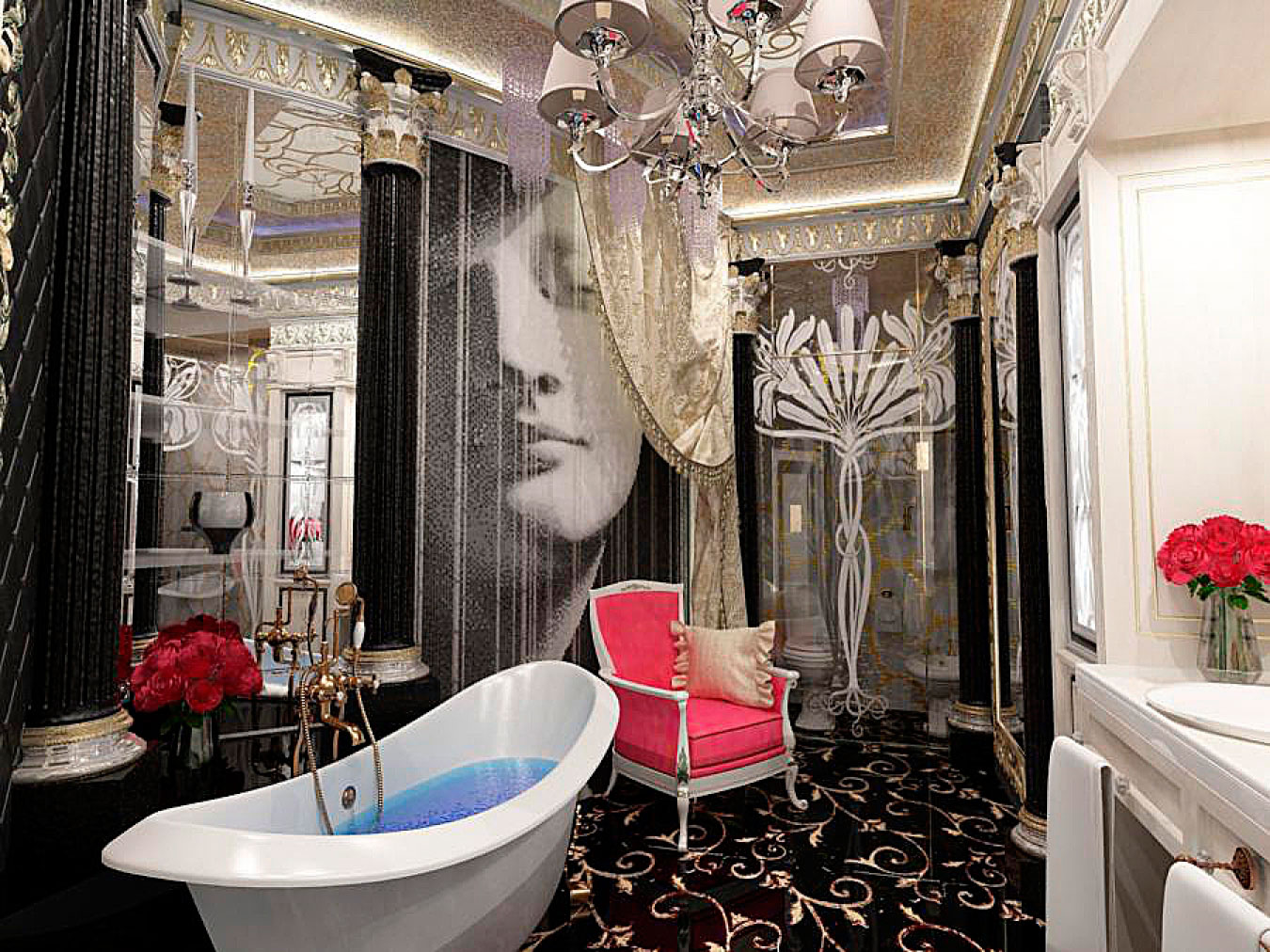 Стиль арт-деко в интерьере ванной комнаты фото