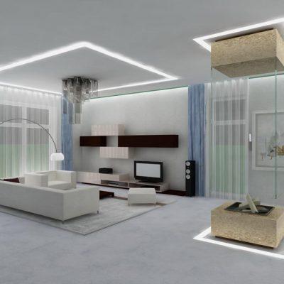 Оформление потолка лампами светодиодными