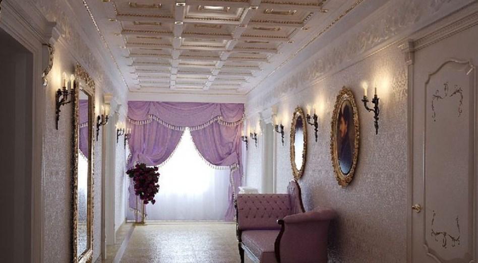 Фиолетовые шторы в прихожей