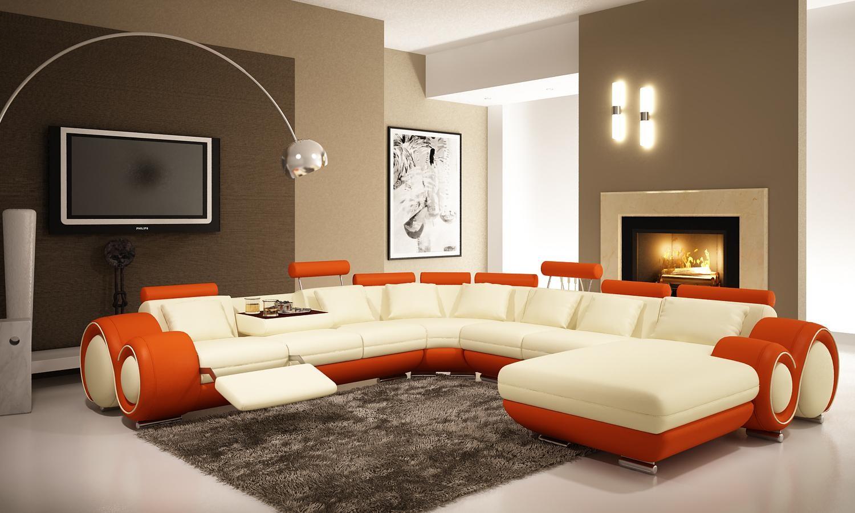 Оранжевый интерьер гостиной