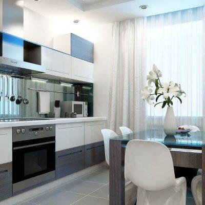 Модная кухня со шторами