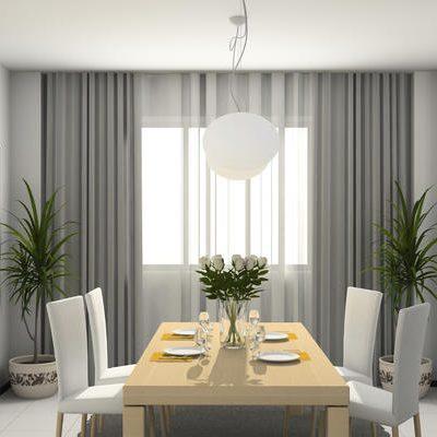 Современная кухня со шторами