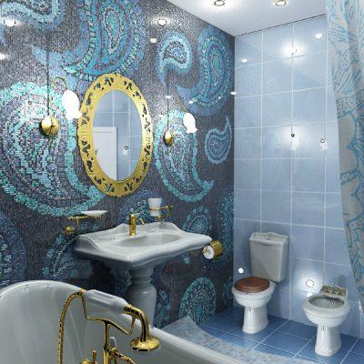 Синий интерьер ванной
