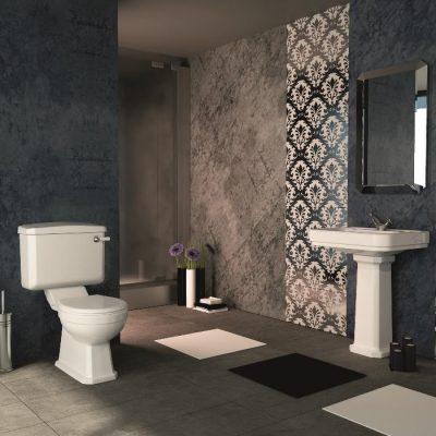Темный вариант оформления ванной