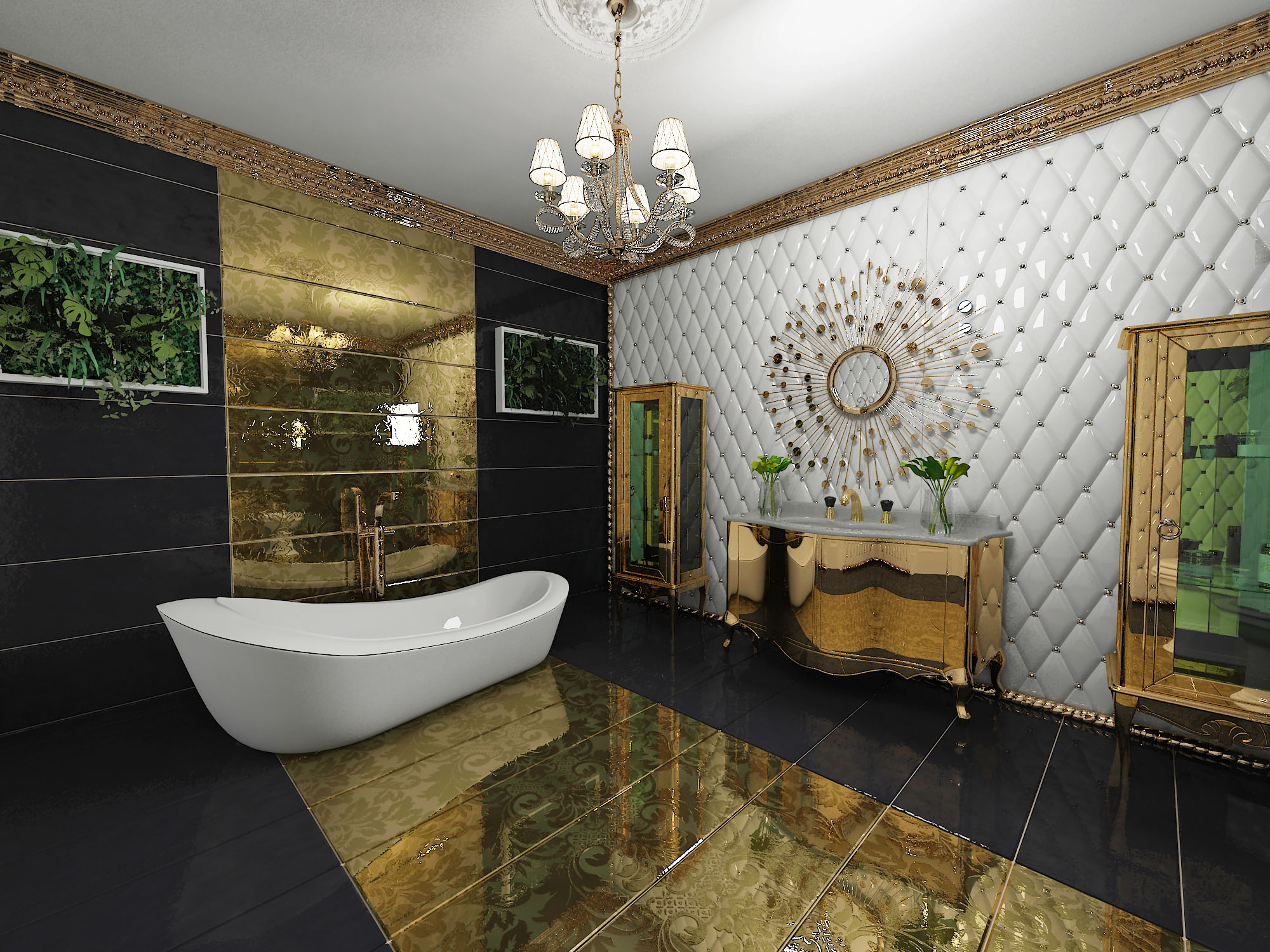 Богатое оормление ванной