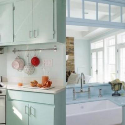 Мятный цвет кухни