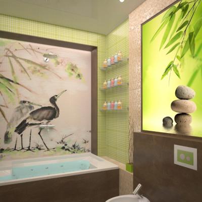 Зеленые оттенки в ванной