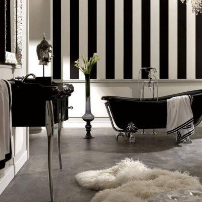 Черно-белые тона ванной