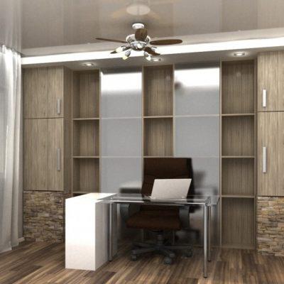 Стенка в интерьере кабинета