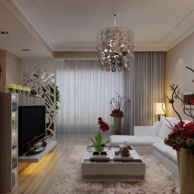 Вертикальная узкая гостиная