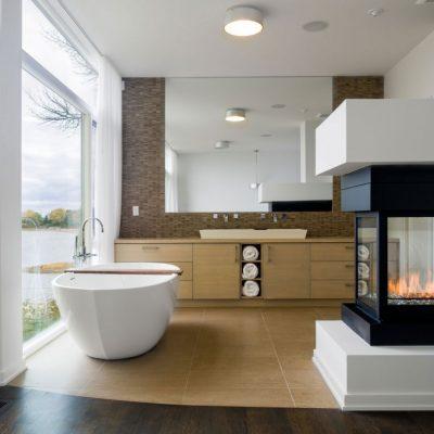 Мебель в ванной комнате на заказ в современном стиле на фото