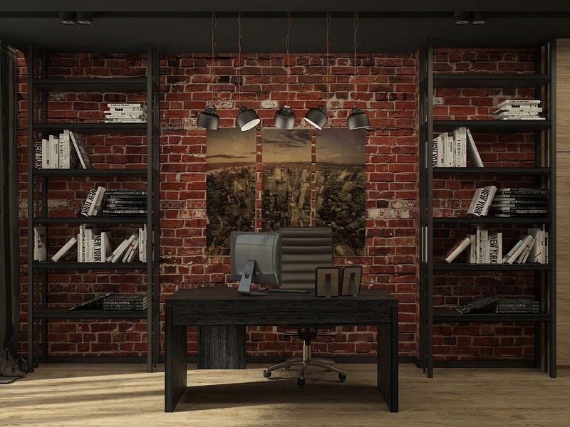Темный кабинет лофт стиля