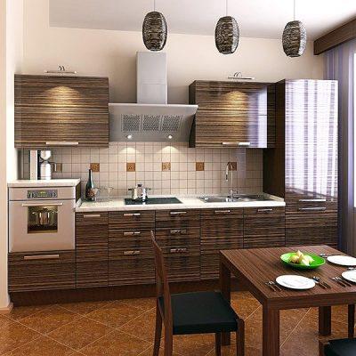 Кухня модерн стиля под дерево на фото