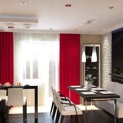 Чёрно-белая кухня в красными шторами