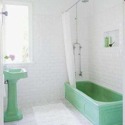 Зеленые элементы ванной