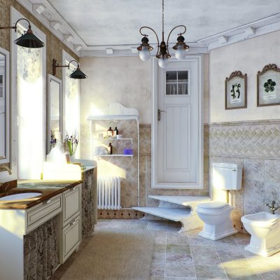 Меблировка ванной стиля кантри