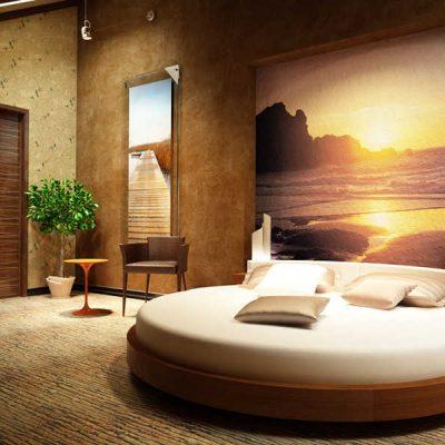 Круглая кровать и закат