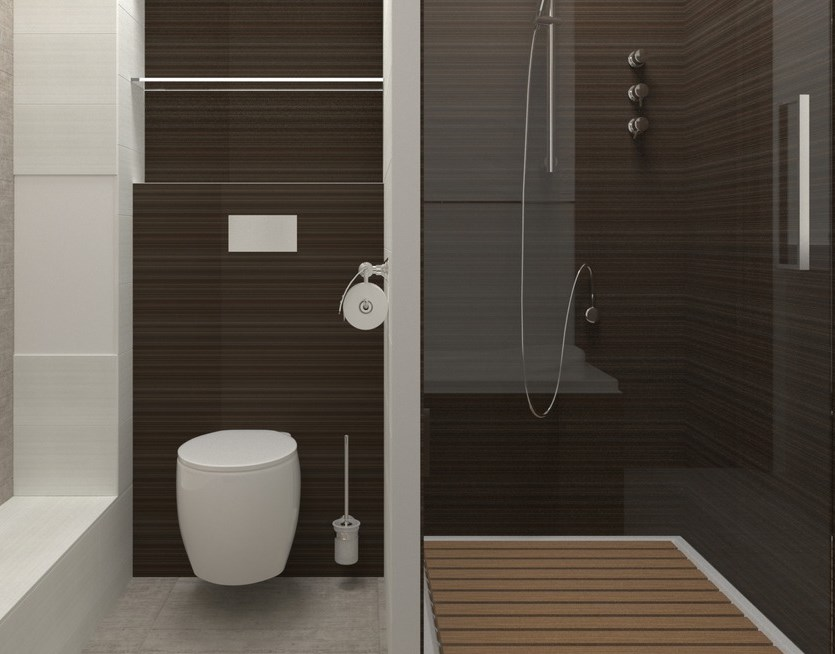 Коричневый интерьер ванной
