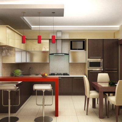 Красный цвет в кухне