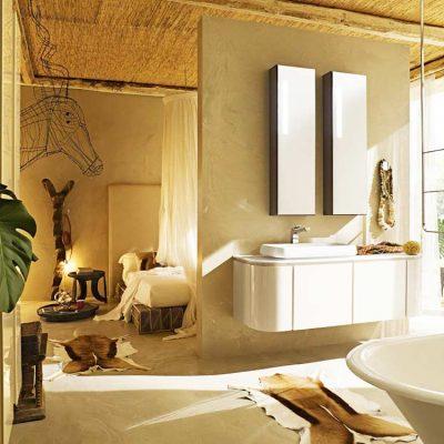 Ванна комната бежевая