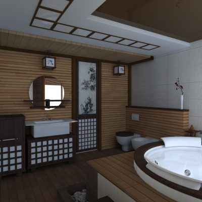 Ванная в японском стиле на фото пример