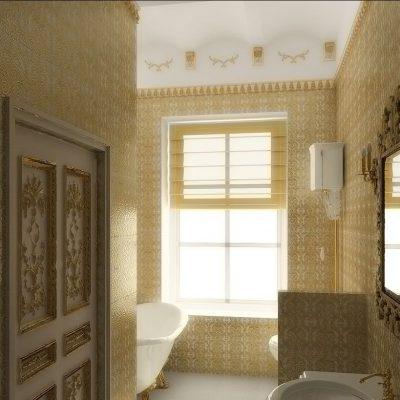 Бежевый интерьер ванной