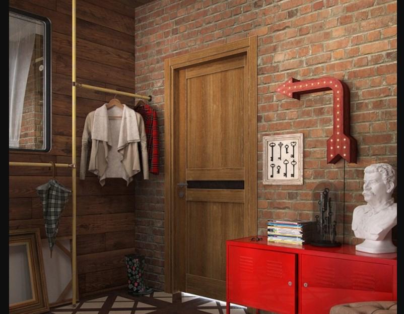 Яркий шкаф в интерьере
