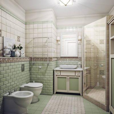 Зеленые тона плитки в ванной