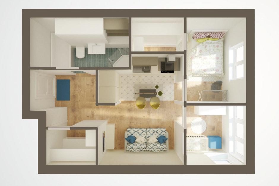 Дизайн двухкомнатной квартиры 44 квм без перепланировки