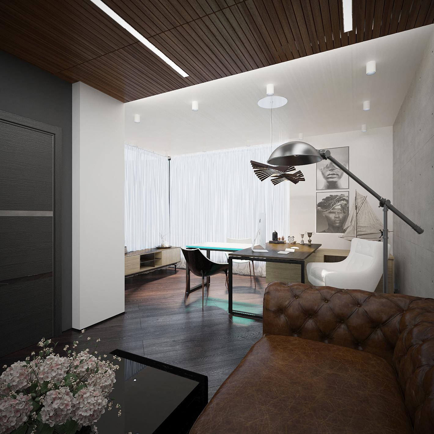 Интерьер кабинета директора офиса в стиле лофт на фото