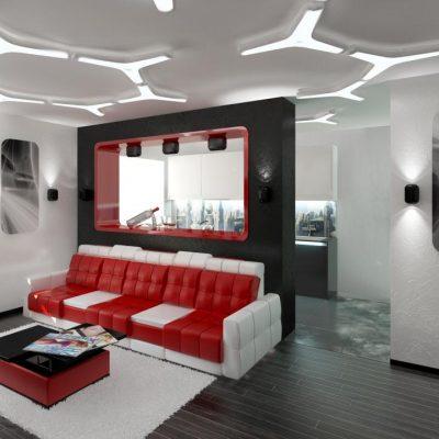 Яркий диван в гостиной