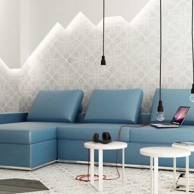 Гоубая мебель в стиле минимализма